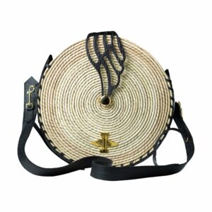 Beach Collection Circle Clasic Natural Wicker Black